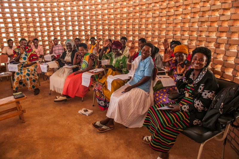 Women for Women International Program participants in Rwanda come together at the Women's Opportunity Center