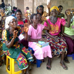 Women come together for class at a Women for Women International training center in Nigeria