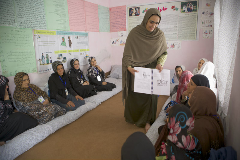 Women in Afghanistan learning at a Women for Women International training center
