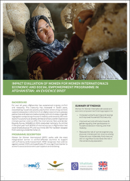 Thumbnail - IMPACT EVALUATION OF WOMEN FOR WOMEN INTERNATIONAL'S ECONOMIC AND SOCIAL EMPOWERMENT PROGRAMME IN AFGHANISTAN: AN EVIDENCE BRIEF