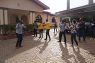 Genevieve with the Nigeria Country Team doing an exercise class