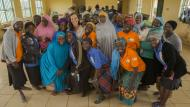 Brita Fernandez Schmidt with a group of Women for Women International participants in Plateau State, Nigeria. Photo: Monilekan
