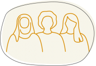 Illustration of women standing together for infographic