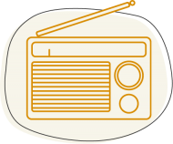 Illustration of a small radio for infographic