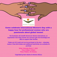 Pink flyer with hands on top, advertising an event to fundraise for Women for Women International at a bar in NYC