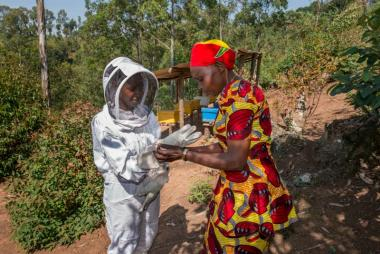 Caritas instructing bee keeper