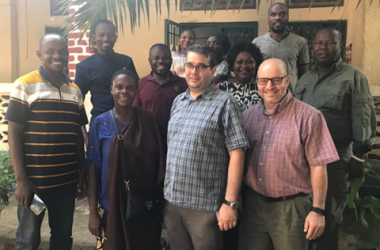Marc Nations (front row, far right) with the staff in Uvira, DRC