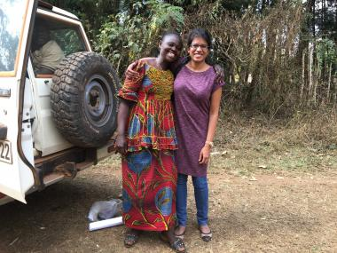 Saba Ghori and a Social Empowerment trainer from Women for Women International - Democratic Republic of the Congo