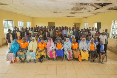 Change Agents, trained by Women for Women International, convene a peace dialogue meeting between farmers and herdsmen in Nigeria's volatile Plateau State. Photo: Monilekan