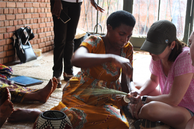 Tricia Donor Trip - learning basket weaving from program graduates