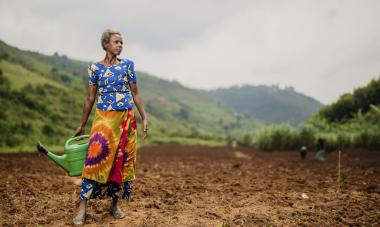 Mary Francoise, from the Rwanda program, is part of a cooperative that farms in Bumbogo. Photo credit: Serrah Galos