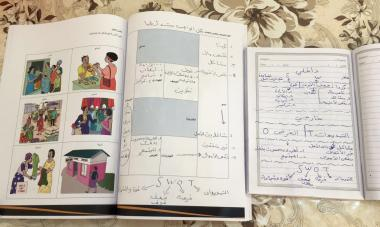 Image of participant workbooks with exercises and illustrations