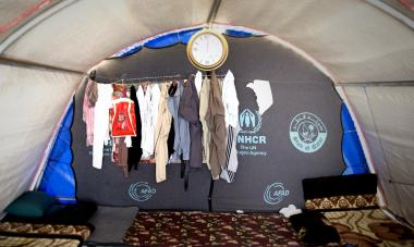 The inside of a refugee tent at Khanke Camp