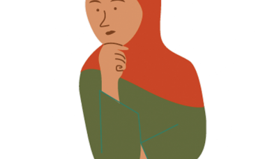 Illustration of a girl in a hijab thinking
