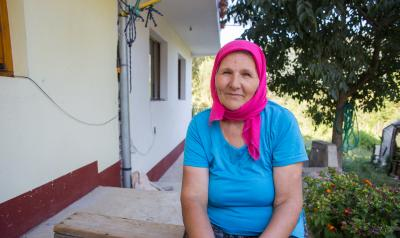 Bosnia and Herzegovina Woman with Pink Head Scarf