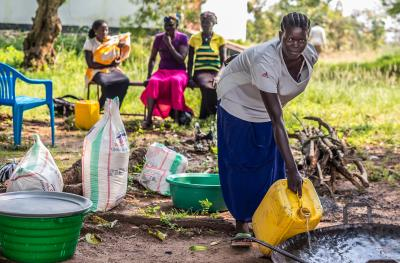 Woman participant cleaning in South Sudan - Photo Credit: Charles Atiki Lomodong