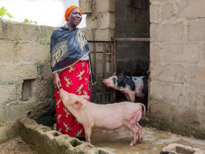 Nigeria woman with animals